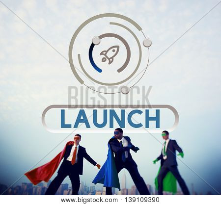 Start Up Business Rocket Ship Graphic Concept