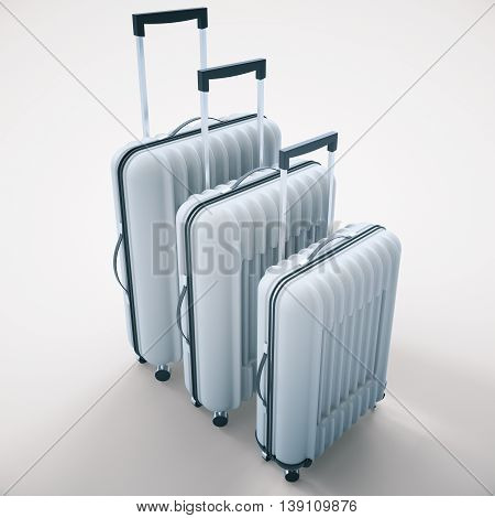 Three diffrent sized grey suitcases on light background. 3D Rendering