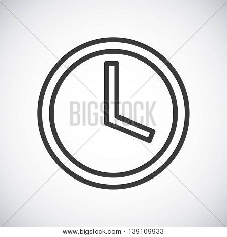Silhouette icon concept represented by black Clock. Isolated and shiny illustration.