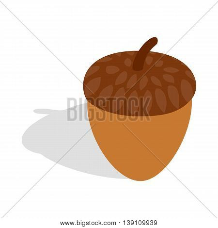 Acorn icon in isometric 3d style isolated on white background. Plant symbol