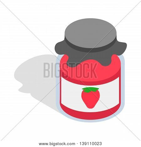Bank strawberry jam icon in isometric 3d style isolated on white background. Food symbol