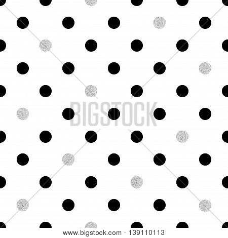 Polka dot seamless pattern. Vector dots background in black and silver colors.