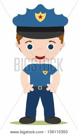 good young cop cartoon in blue uniform
