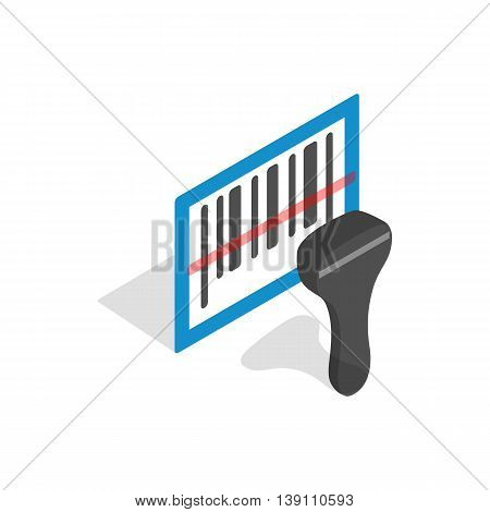 Barcode scanner icon in isometric 3d style isolated on white background. Equipment symbol
