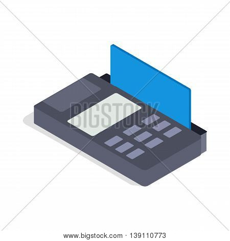 Terminal card icon in isometric 3d style isolated on white background. Equipment symbol