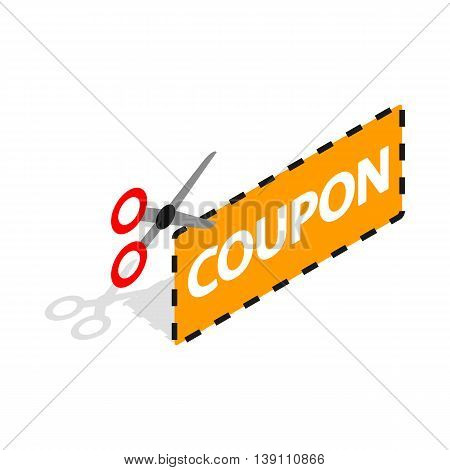 Coupon code icon in isometric 3d style isolated on white background. Buy symbol