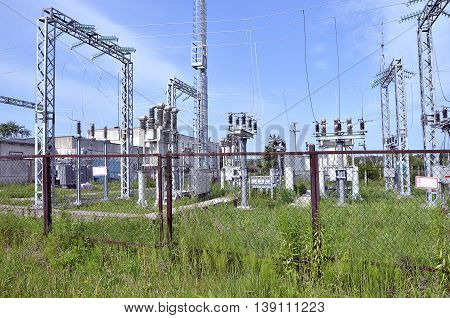 Part of electric station engineering construction on a plant