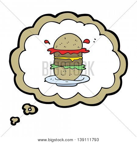 freehand drawn thought bubble cartoon burger