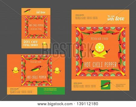 Set of templates for restaurant. Mexican food advertisement flyers. Hot chili pepper. Lime and paprika. Spicy kitchen. Vector illustration