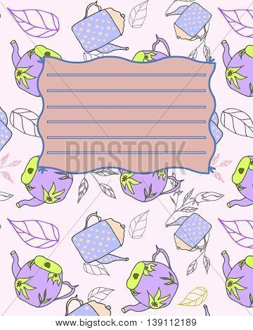 School notebook cover postcard invitation sample with teapots