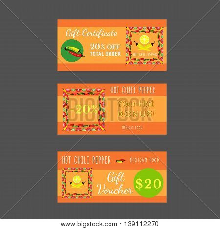 Set of templates for Mexican restaurant. Gift certificate, discount voucher, bonus offer. Advertising flyers. Invitation card. Hot chili pepper. Lime and paprika. Vector illustration