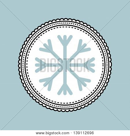 Merry Christmas concept represented by snowflake inside seal stamp icon. Colorfull illustration.