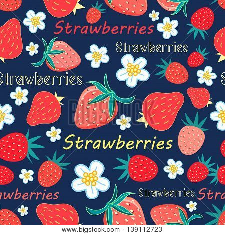Bright seamless pattern with a strawberry on a dark background