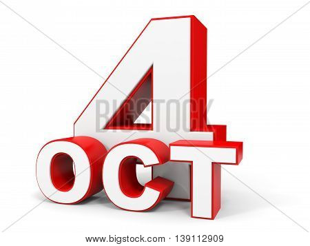 October 4. 3D Text On White Background.