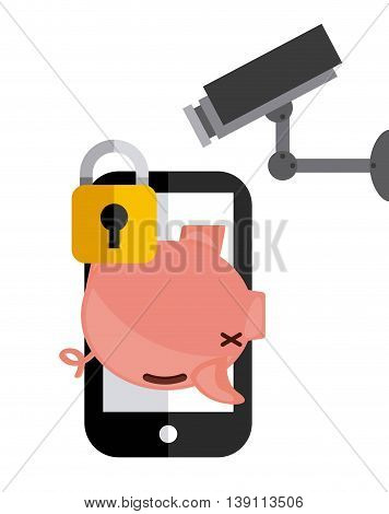 Security and Protection concept represented by piggy smartphone cctv and padlock icon. Colorfull and flat illustration.