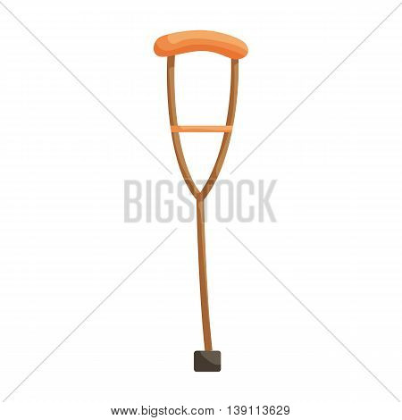 Wooden crutch icon in cartoon style isolated on white background