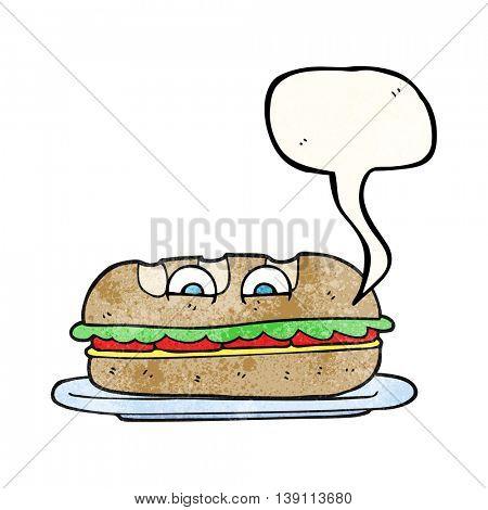 freehand speech bubble textured cartoon sub sandwich