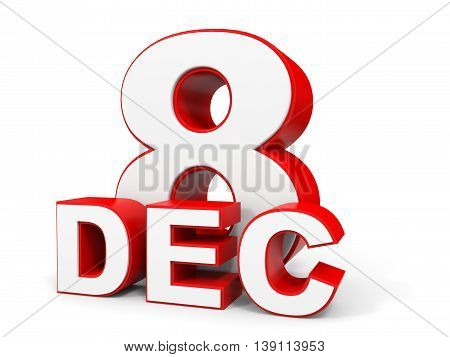 December 8. 3D Text On White Background.
