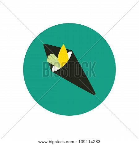 Cone sushi roll with oily fish and cucumber. Vector illustration