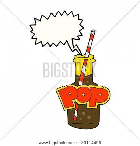 freehand drawn speech bubble cartoon fizzy drink bottle