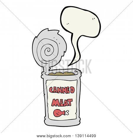 freehand drawn speech bubble cartoon canned meat
