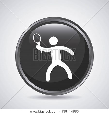 Fitness and button concept represented by tennins player icon over button shape. Isolated and flat illustration.