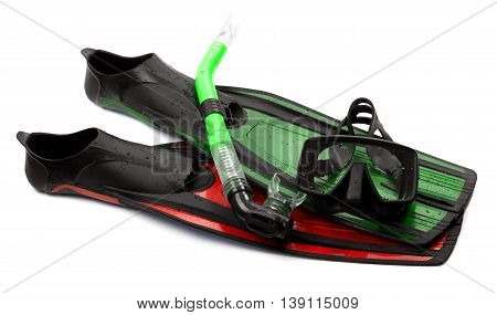 Mask, Snorkel And Flippers Of Different Colors With Water Drops