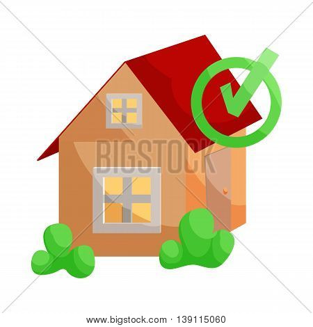 House with approval checkmark icon in cartoon style isolated on white background