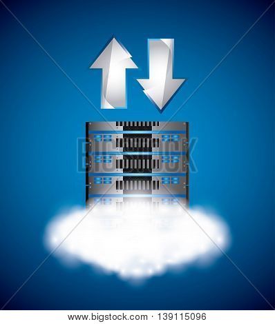 Data center concept represented by web hosting icon. Colorfull and flat illustration.