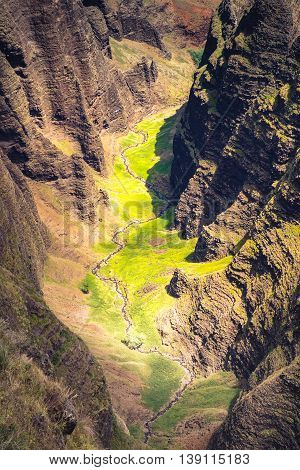 Beautiful Landscape Detail Of Na Pali Coast Cliffs And Valley, Kauai