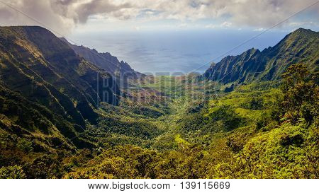 Panoramic Landscape View Of Kalalau Valley And Na Pali Cliffs