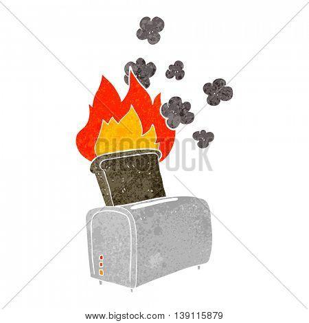freehand retro cartoon burnt toast