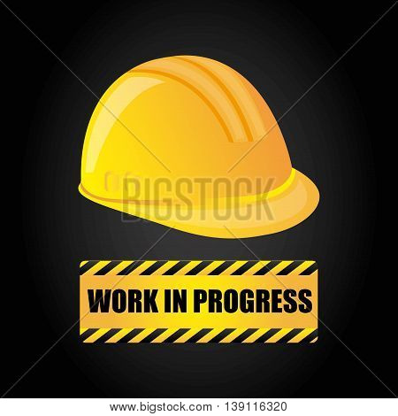 Under construction and Work in Progress concept represented by helmet icon. Colorfull and flat illustration.