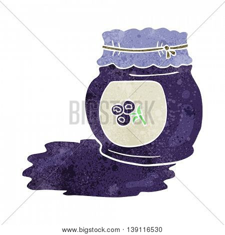 freehand retro cartoon blueberry jam