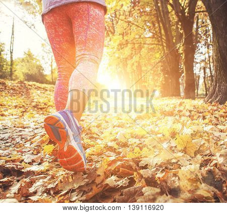 Autumn runner legs close up image .