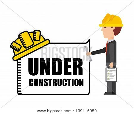Under construction and Work in Progress concept represented by architect cartoon icon. Colorfull and flat illustration.