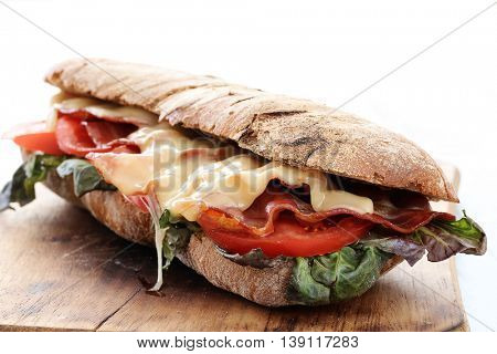 Delicious, long sandwich with cheese