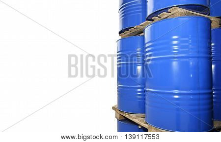 Chemical tanks stored at the storage of waste isolated on white background.