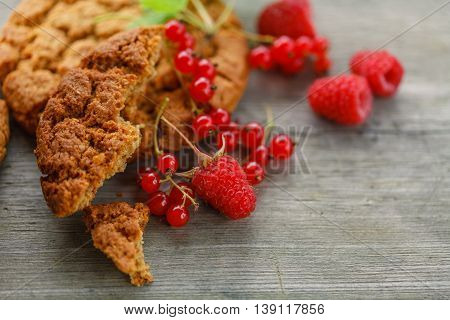 Italian Cantuccini Cookies with red berries on table