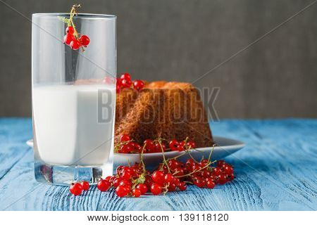 Cakes With Red Currant Decorated With Fresh Red Berries