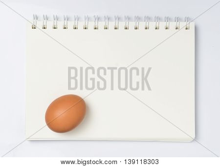 Raw Egg on a blank blinder note book.