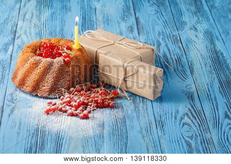 Berry Cake With Gift Box. Birthday Concept