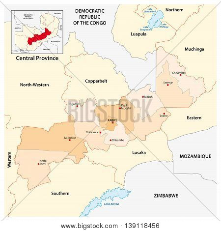 vector administrative and political map of Central Province of Zambia