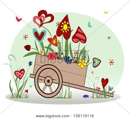 Flower arrangement from blooming hearts in the cart symbolizing joy, love and happiness.