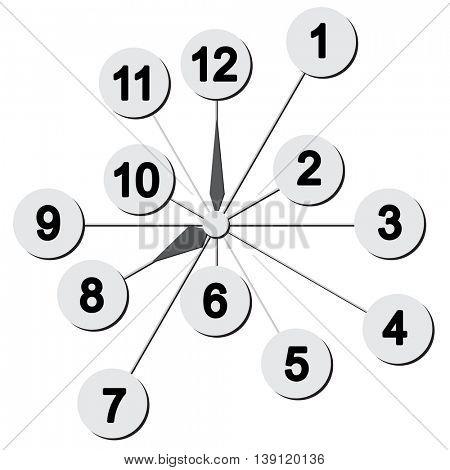 Wall mounted digital clock. illustration.