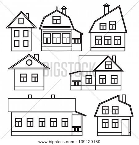 Drawings of individual buildings. Large and small. illustration.