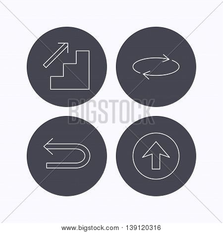 Arrows icons. Upload, repeat and shuffle linear signs. Upstairs, back arrow flat line icons. Flat icons in circle buttons on white background. Vector