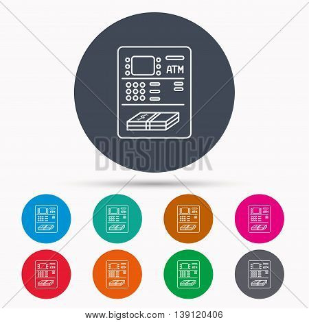 ATM icon. Automatic cash withdrawal sign. Icons in colour circle buttons. Vector