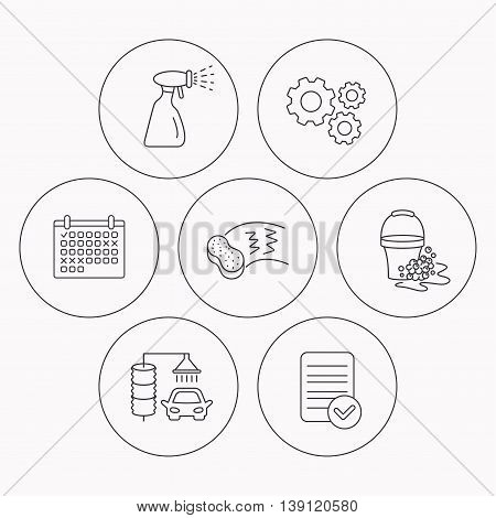 Car wash icons. Automatic cleaning station linear signs. Bucket with foam bubbles, sponge and spray flat line icons. Check file, calendar and cogwheel icons. Vector