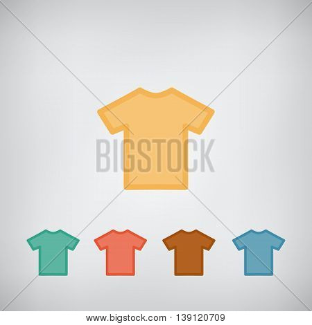 T-shirt flat simple blank icon vector. Clothes symbol.